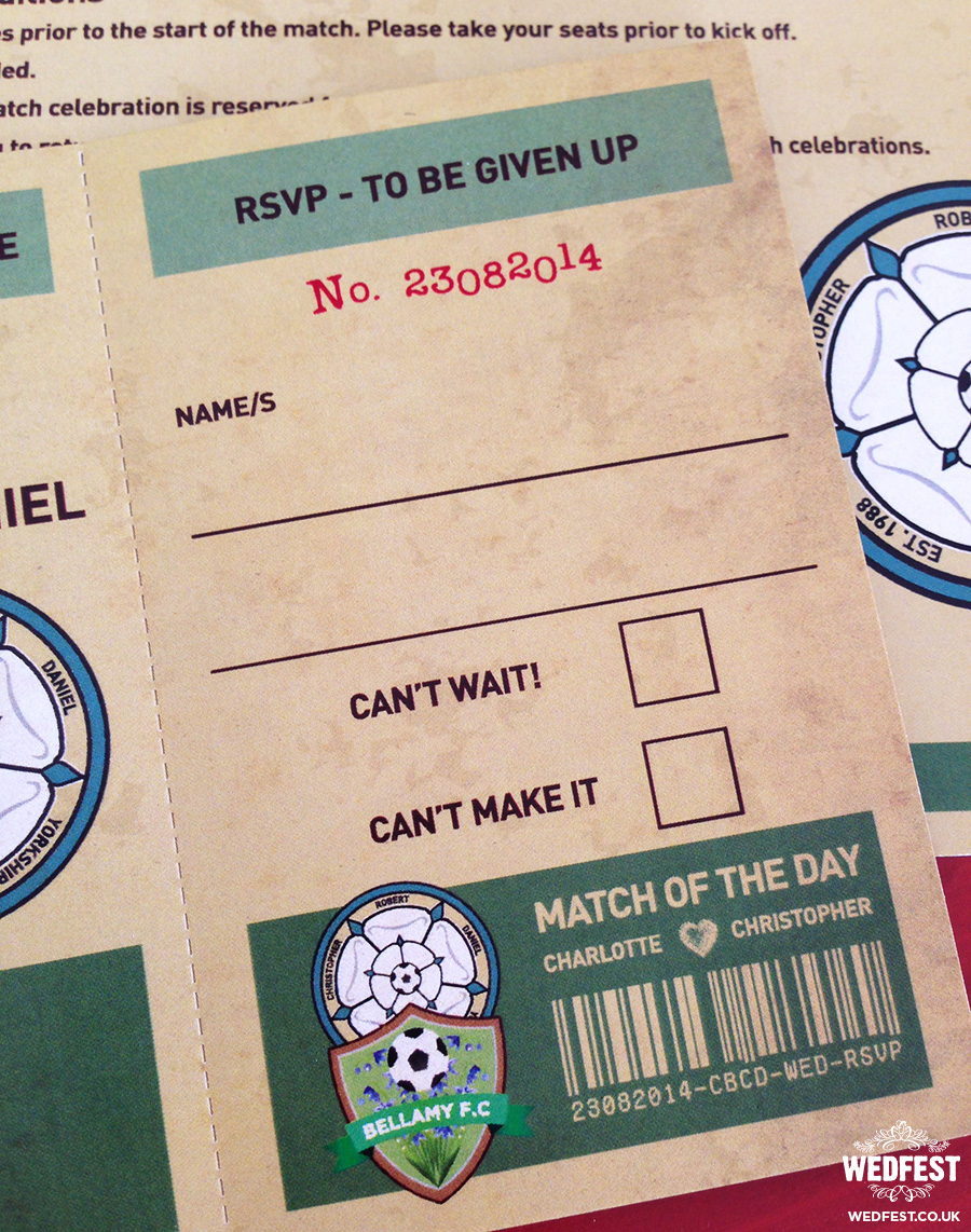 retro football tickets wedding invitations