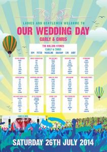 concert poster wedding table plan