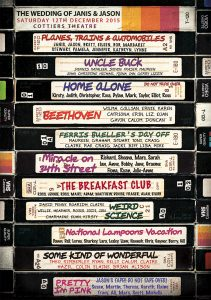 80s movies vhs themed wedding table seating plans
