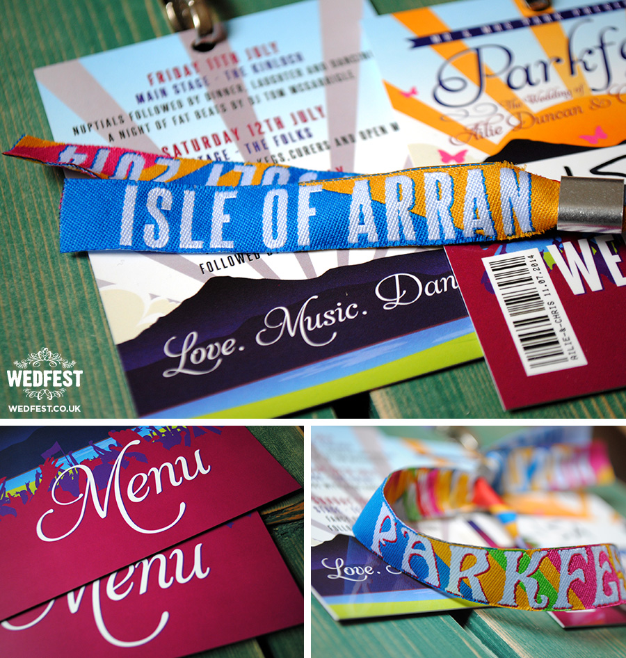 isle of arran festival wedding stationery