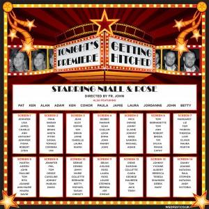 cinema themed wedding table seating plan