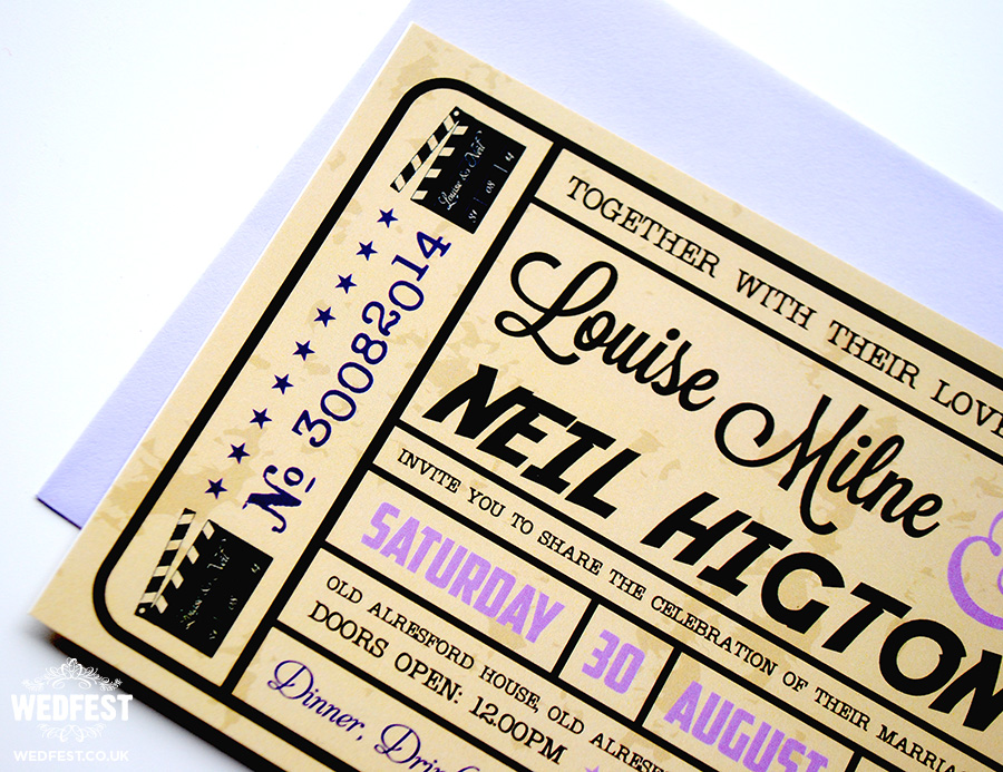 cinema ticket wedding invitations