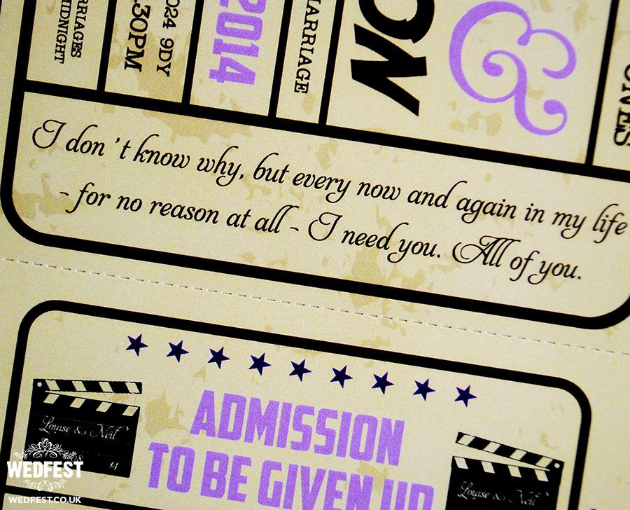 cinema tickets wedding invites