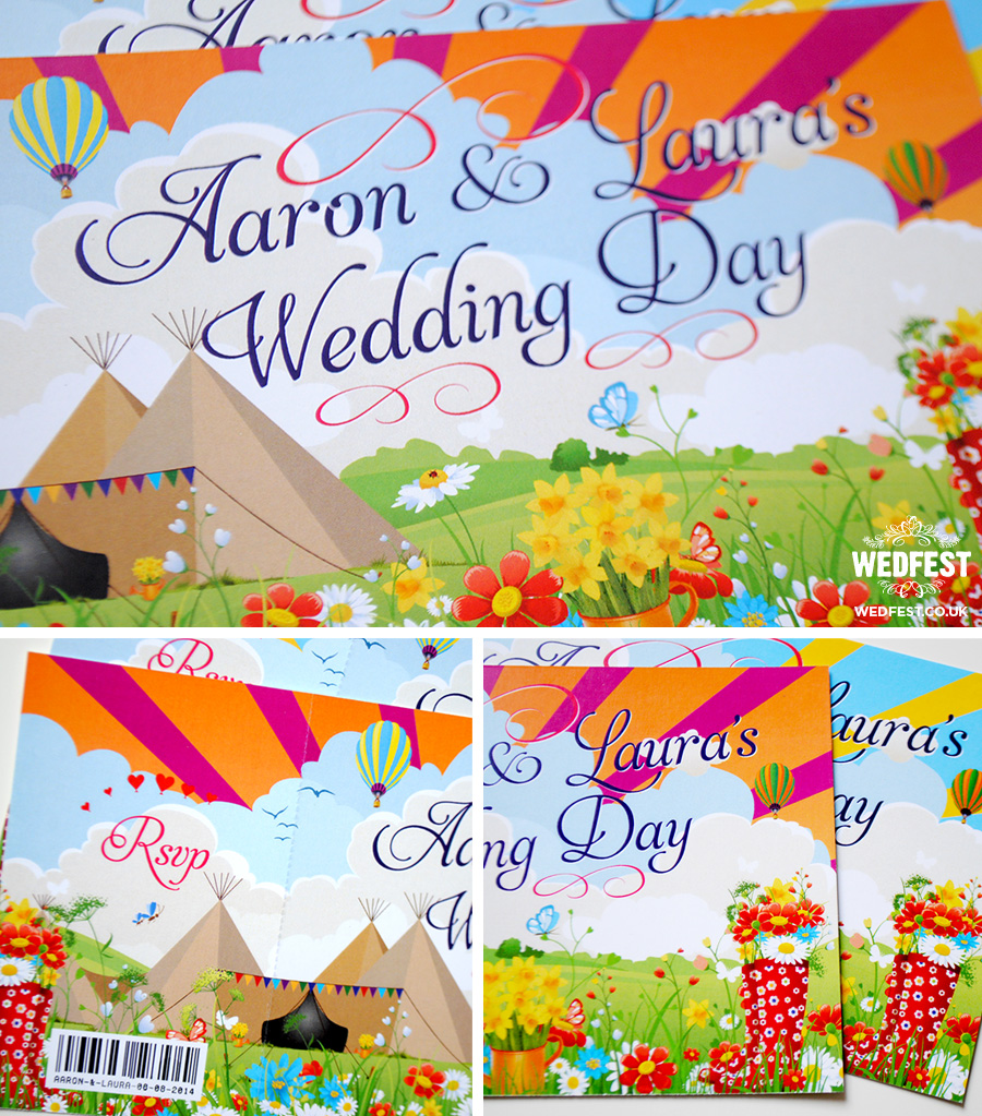 festival teepee tipi ticket wedding invitations