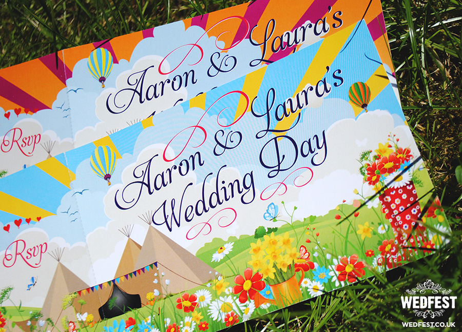 festival teepee tipi ticket wedding invites