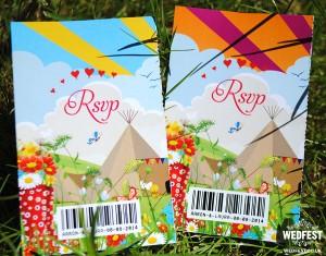 festival wedding ticket invites