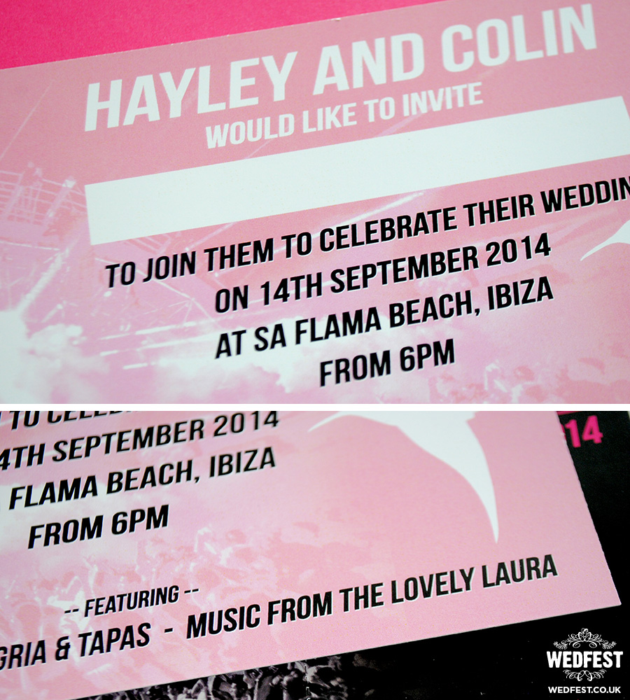 ibiza flyer theme wedding invitation