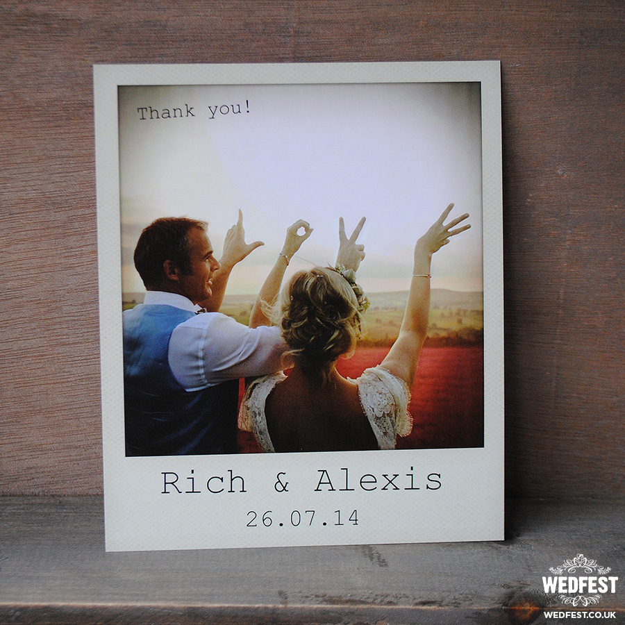 polaroid wedding thank you cards