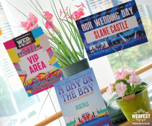 quirky weddings festival wedding table cards