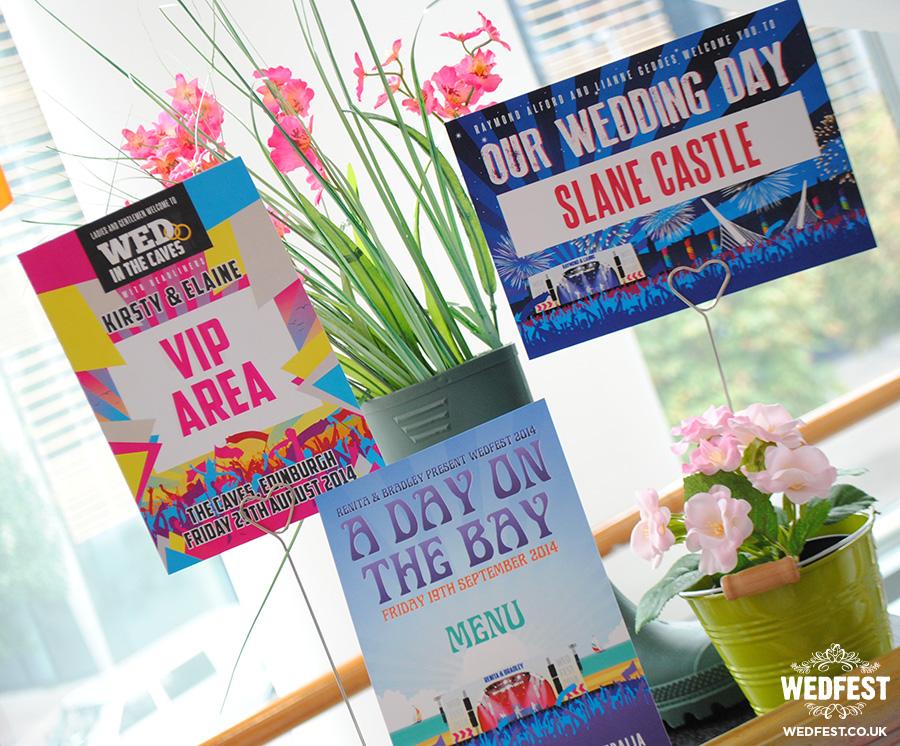 Quirky Weddings Festival Wedding Table Cards Wedding Stationery Belfast Northern Ireland