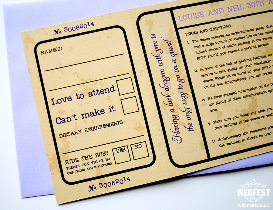 vintage movie ticket wedding invitations