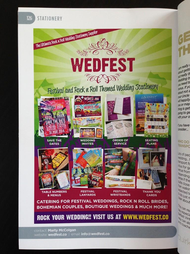 wedfest wedding stationery advert quirky weddings
