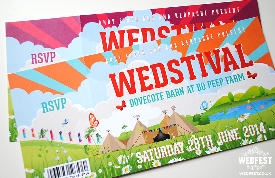 wedstival festival ticket wedding invite dovecote barn bo peep farm