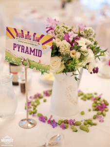 festival wedding table cards