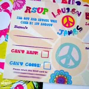flower power hippie wedding invites
