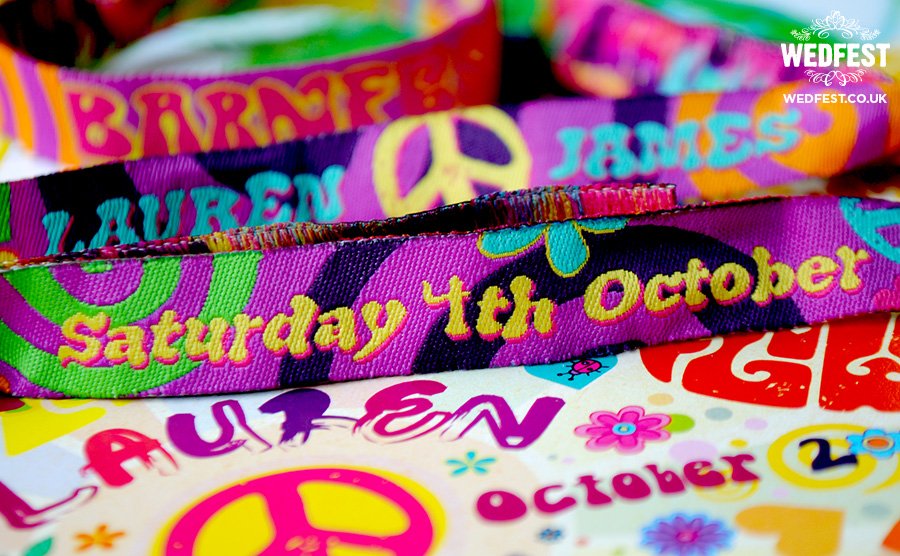 flower power hippie wedding wristbands