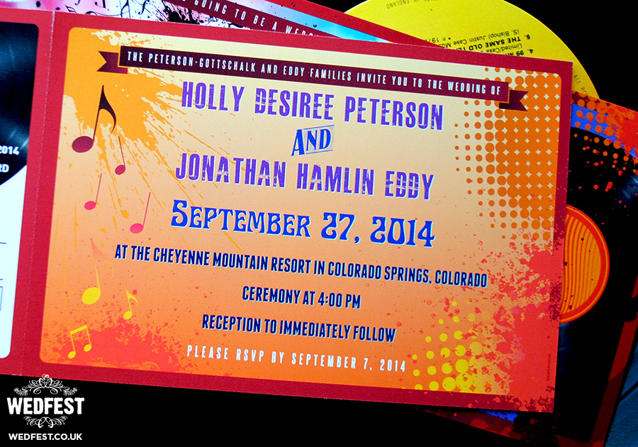 music ticket wedding invites
