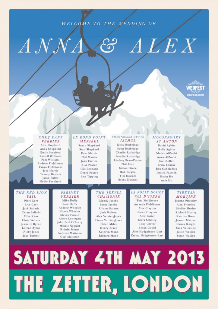 ski themed wedding seating plan