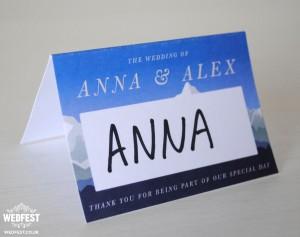 ski themed wedding stationery