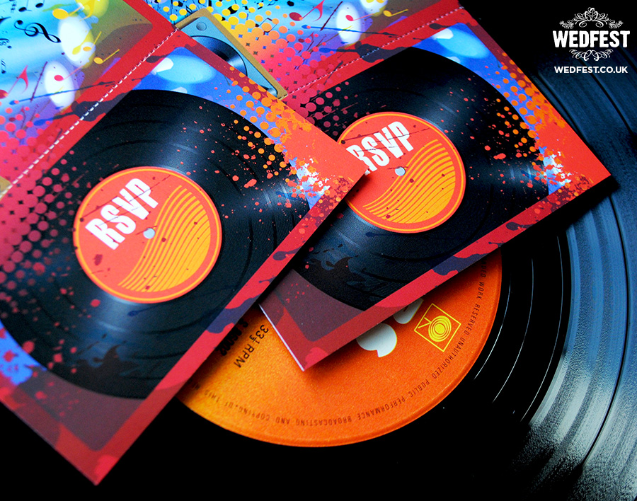vinyl record themed wedding invitations