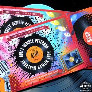 vinyl record themed wedding invites