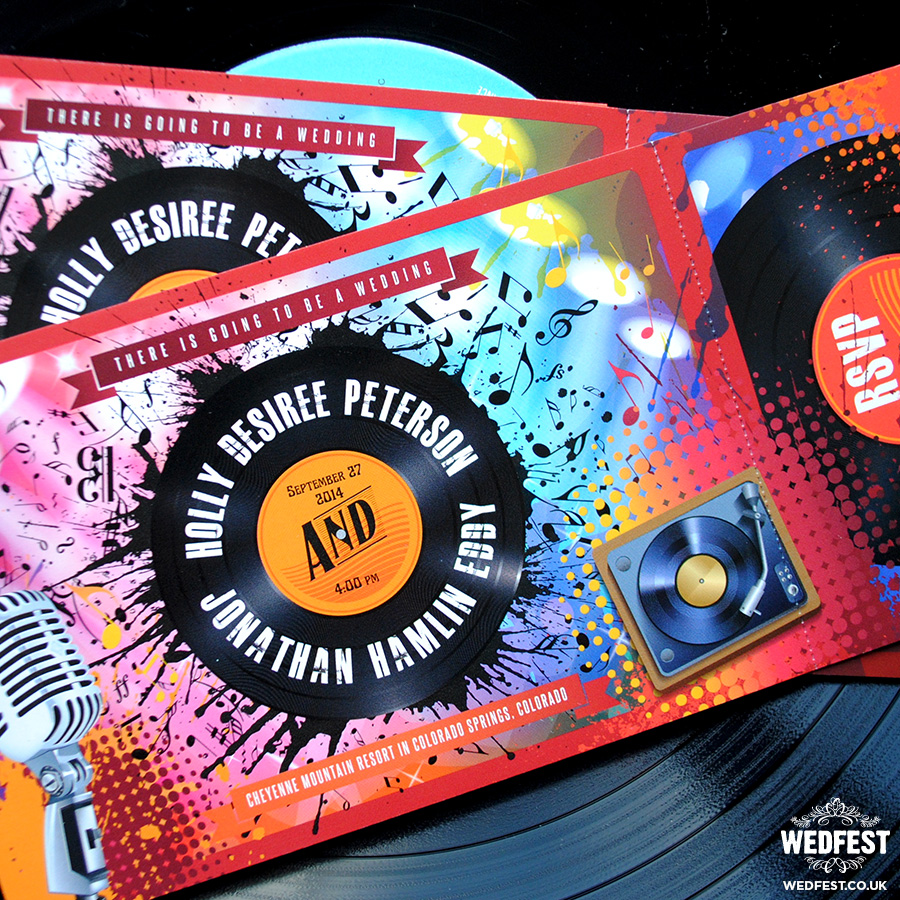 vinyl record themed wedding invites