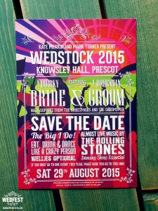 wedstock wedfest festival wedding save the date