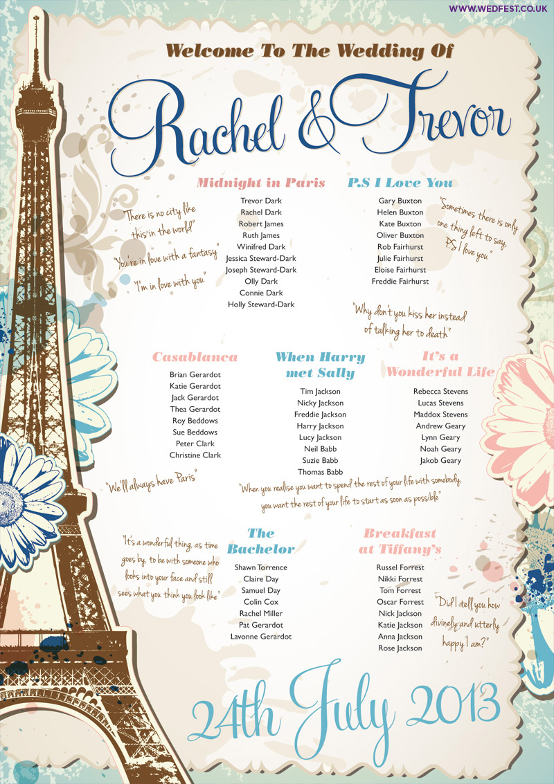 Paris Themed Wedding Seating Chart