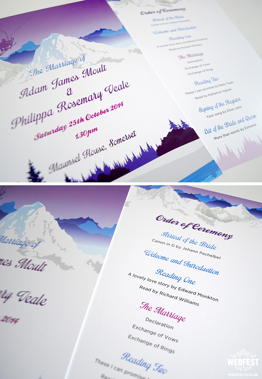 Ski Theme Wedding Order Of Service Cards