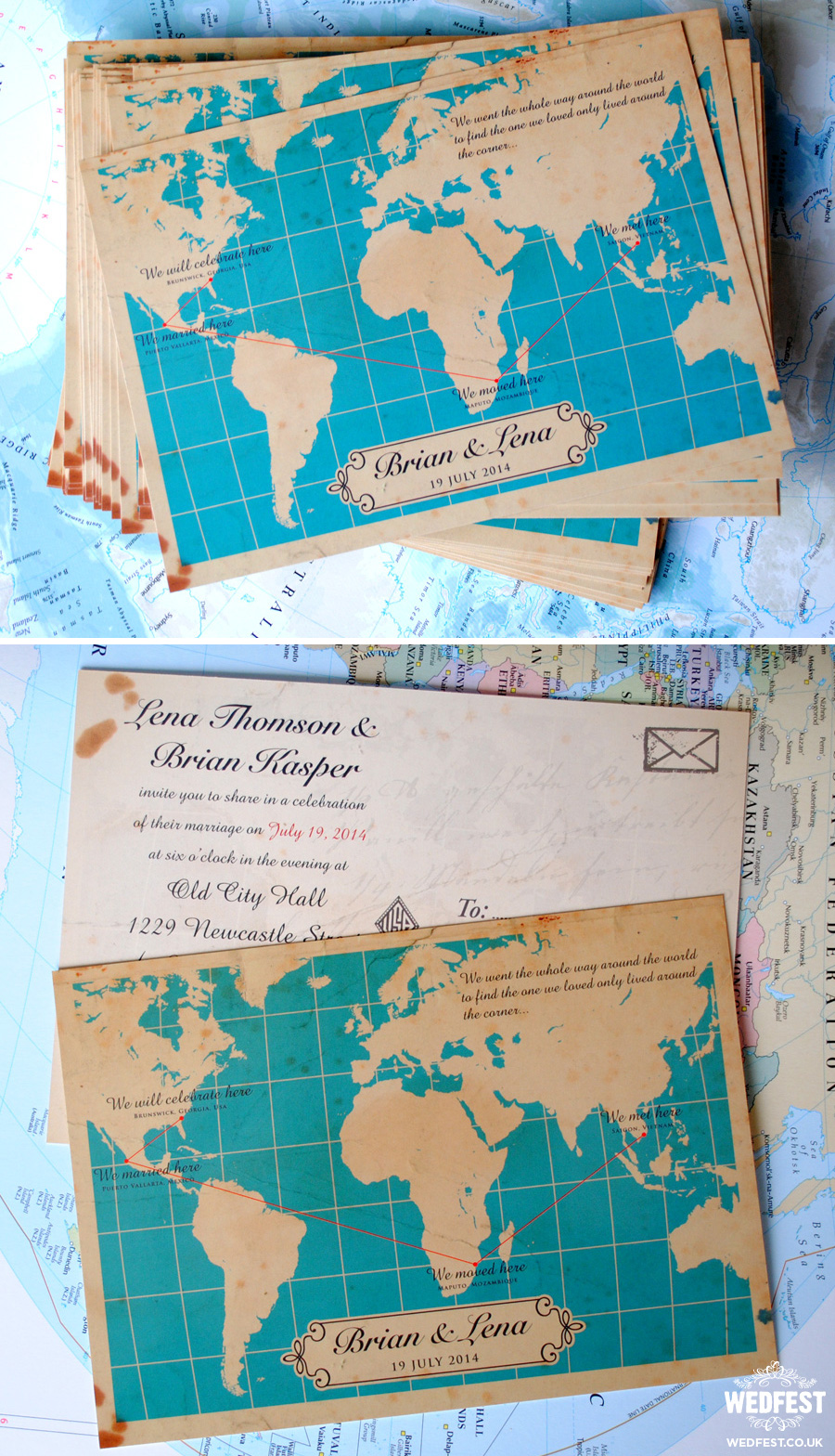 Travel Themed Wedding Invites