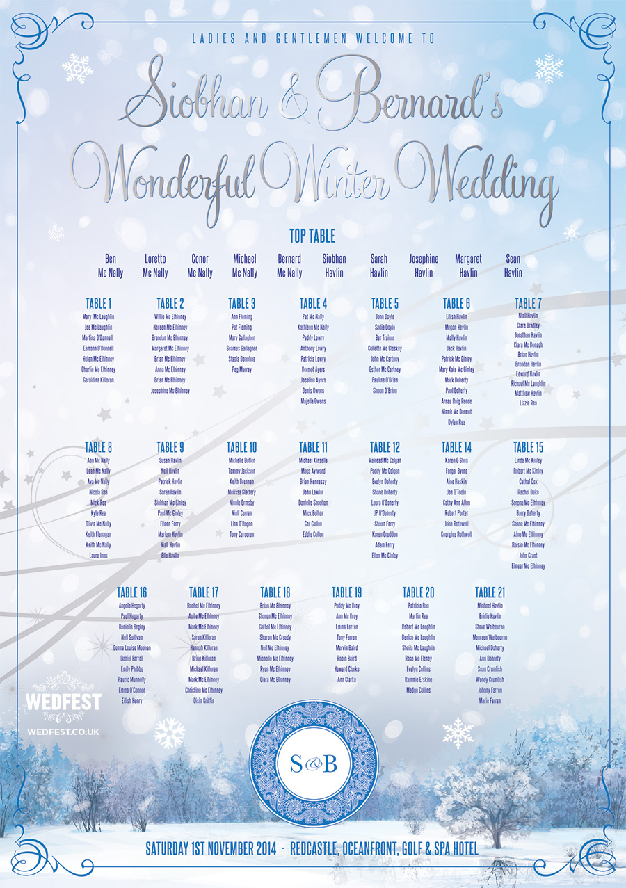 Wonderful Winter Wedding Table Plan