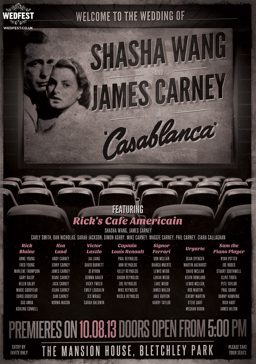 classic movie casablanca wedding seating plan