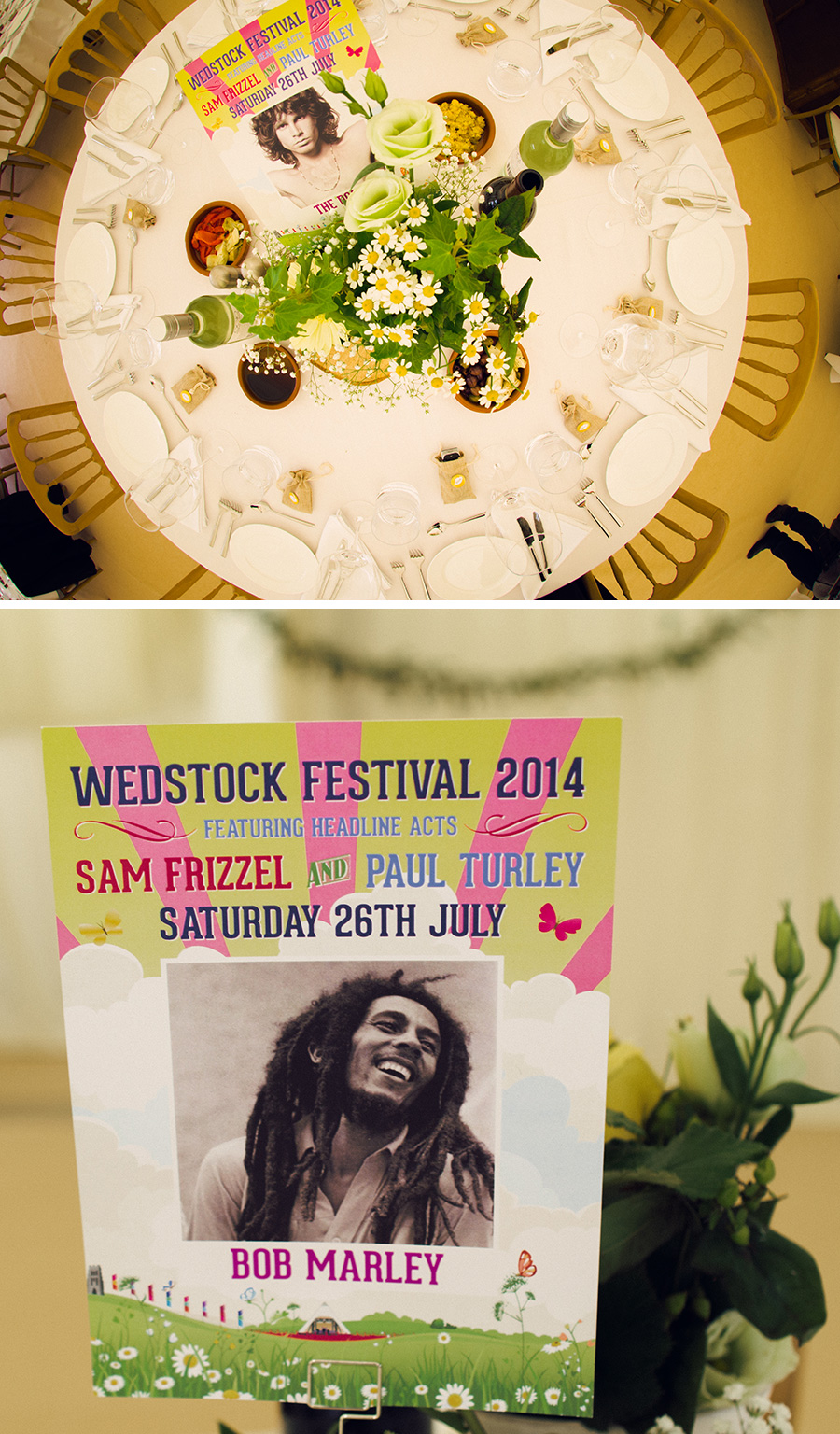 wedstock festival music themed wedding table cards