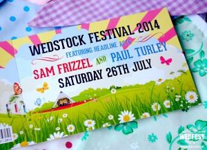 sam and paul wedstock festival wedding invite