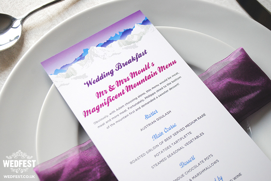 ski themed wedding menu