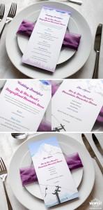 wedding menus winter ski theme wedding
