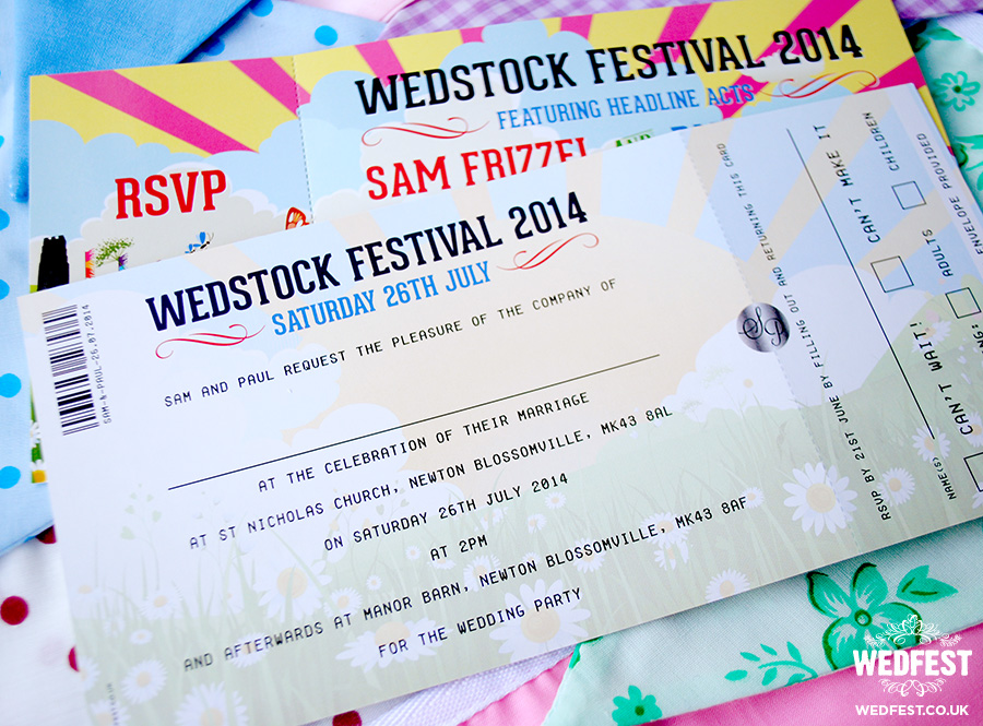 wedstock festival wedding invitations