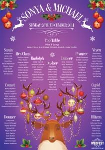 Festive / Christmas Themed Wedding Table Plan