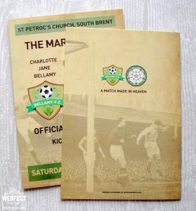 football programme themed wedding mass booklets