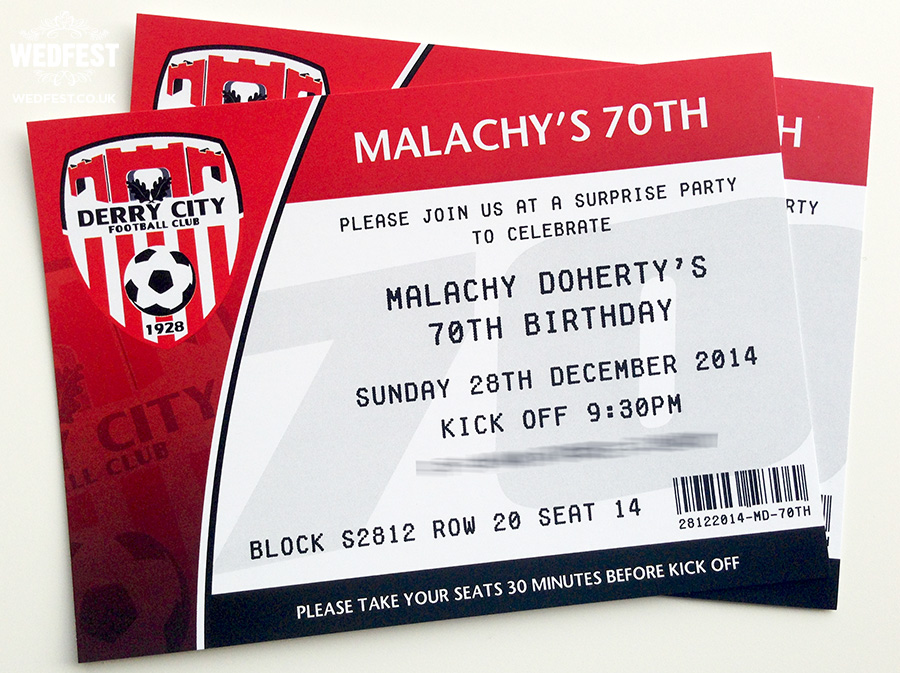 football ticket birthday invitations