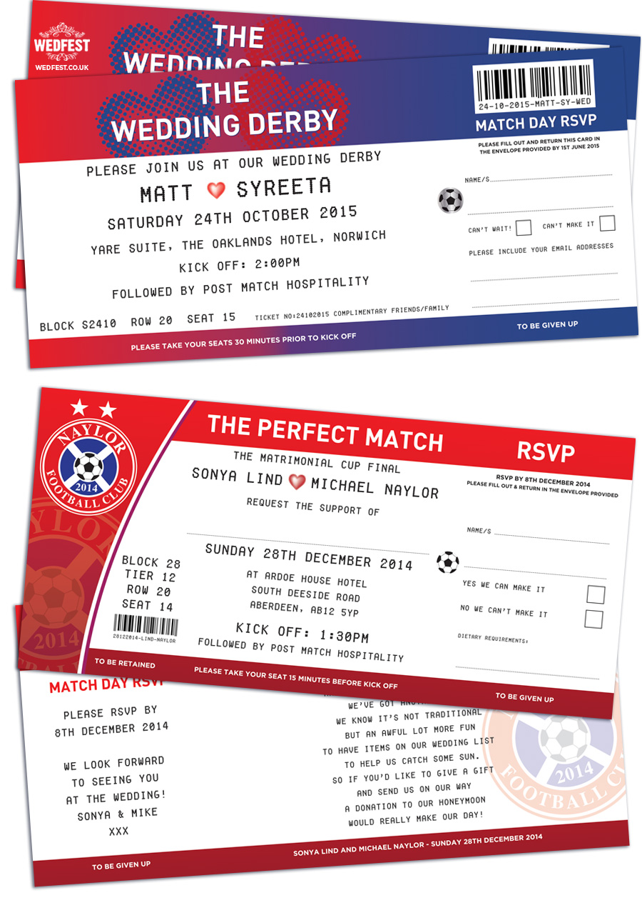 football ticket wedding invites