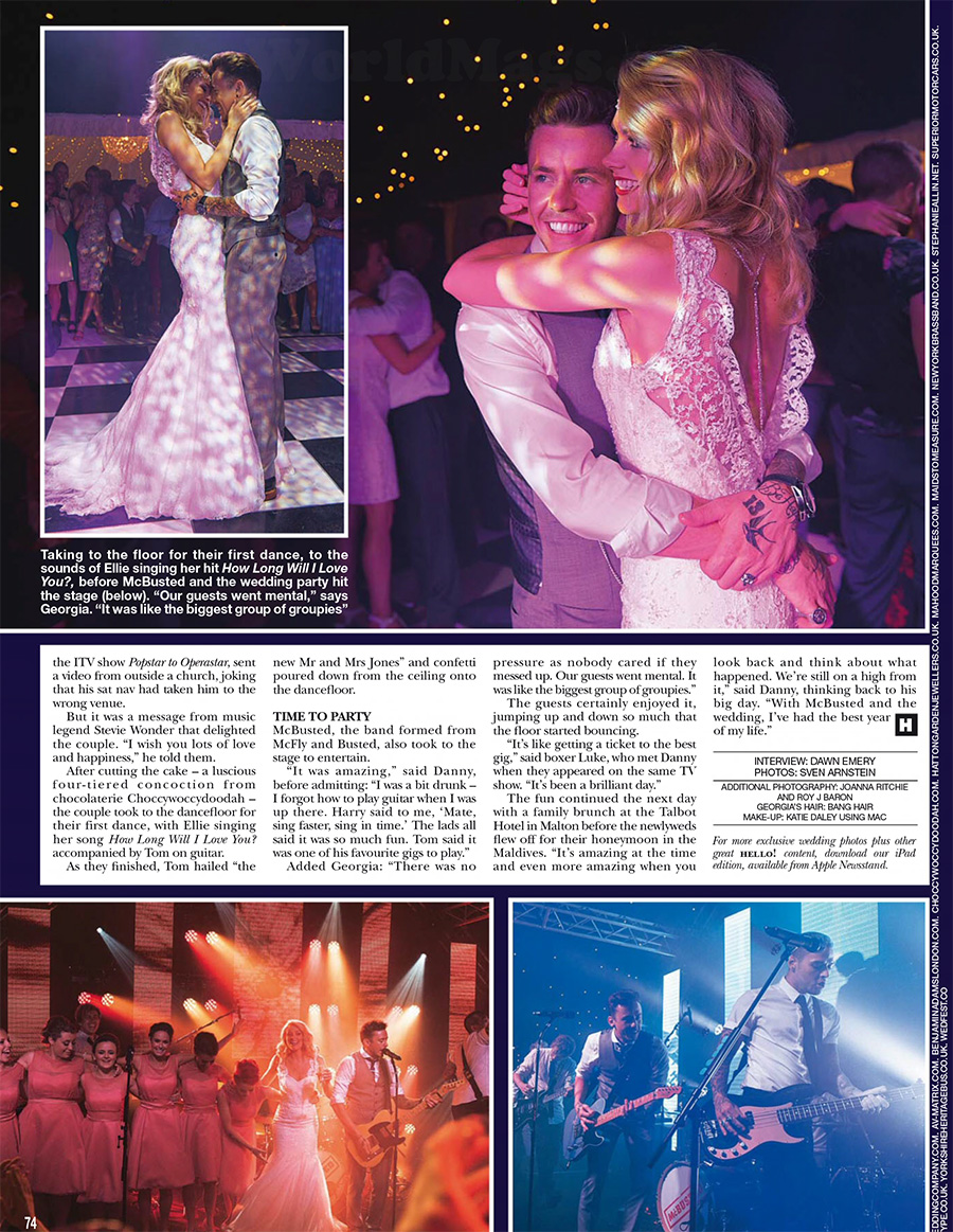 hello magazine danny jones wedding