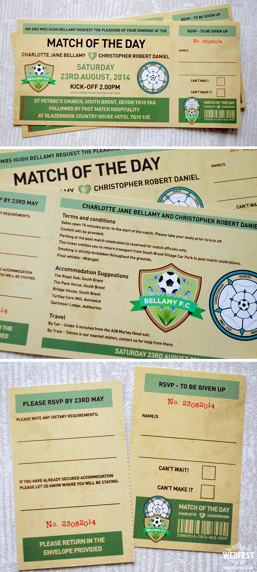 match of the day vintage football ticket wedding invites