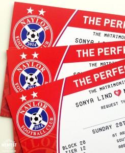 personalised football themed wedding invites