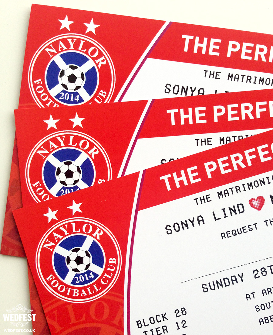 personalised football themed wedding invites