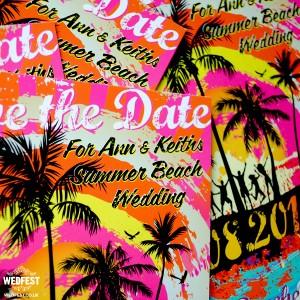 surf beach wedding save the date card