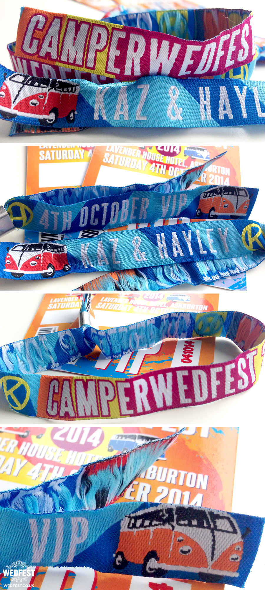 vw campervan festival wedding wristbands