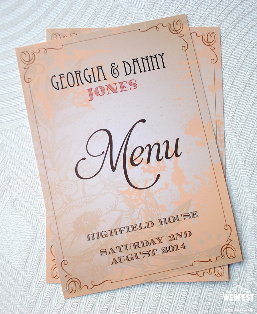 wedfest danny jones wedding menu stationery