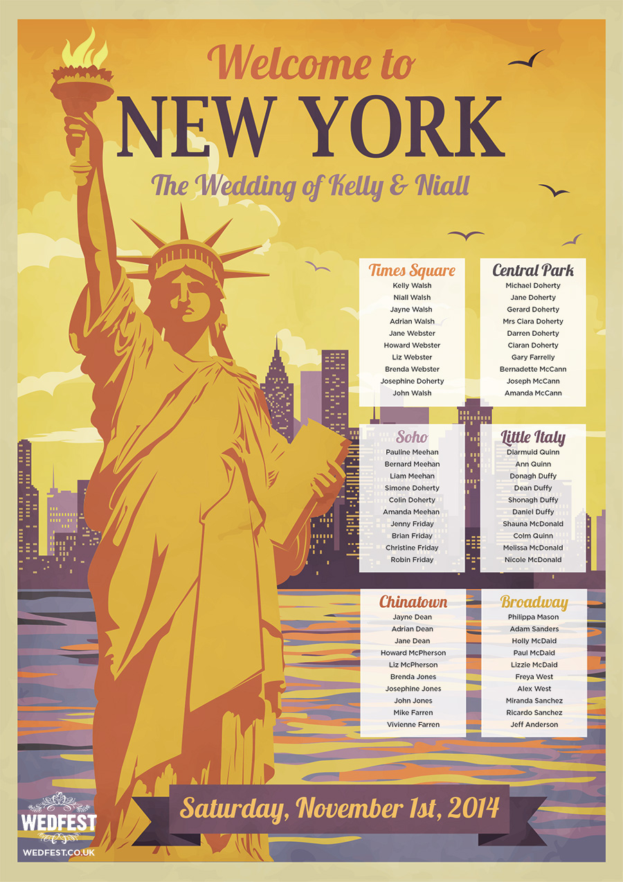 New York Themed Wedding Table Plan