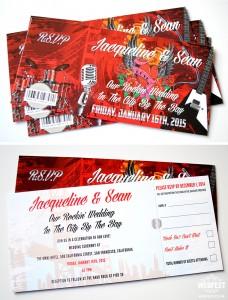 San Francisco Rock n Roll wedding invites